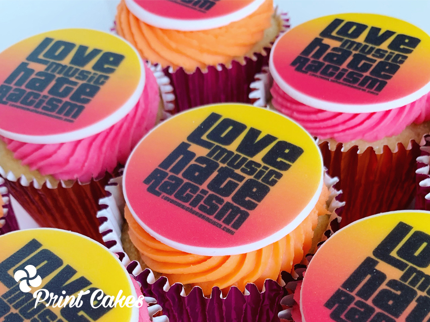 love music hate racism logo branded cupcakes