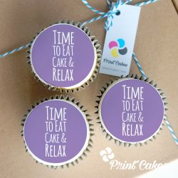 Eat-cake-and-relax buttercream cupcake gift box