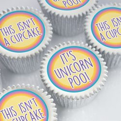 Unicorn themed cupcake gift boxes for birthdays with uk delivery.