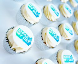 Branded buttercream cupcakes delivered across the UK. Perfect for corporate events.