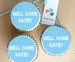 Cupcakes with personalised edible toppers. Delivered across the UK