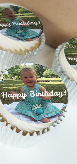 Cupcakes printed with an edible photo topper. UK delivery.