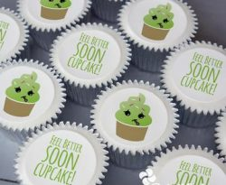 get well soon personalised cupcake gift box. uk delivery