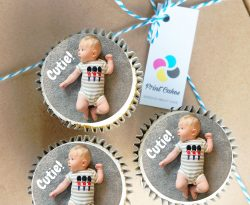 new baby buttercream personalised photo upload cupcake gift box