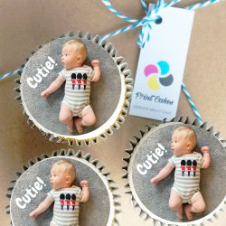 new baby buttercream personalised photo upload cupcake gift box
