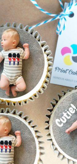 new baby buttercream personalised photo cupcake gift box
