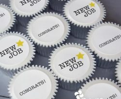 new job personalised cupcake gift box. uk delivery