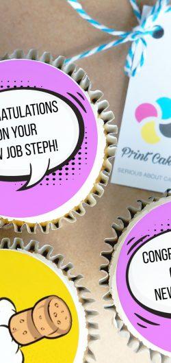 new job cartoon personalised buttercream cupcake gift box