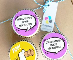 new job comic book personalised message cupcake gift box