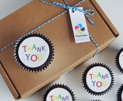 personalised thank you cupcake gift box. uk delivery