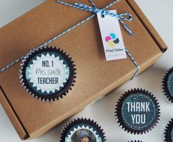 personalised thank you teacher cupcake gift box. uk delivery