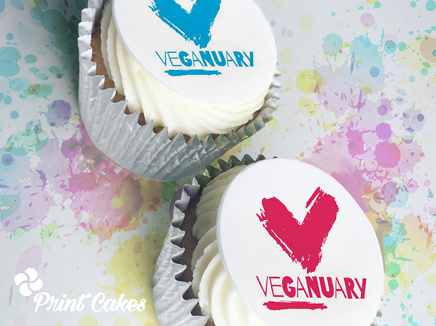 vegan veganuary branded cupcakes